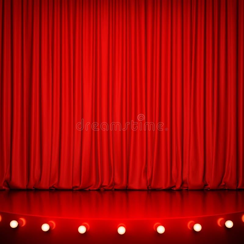 Fase lustrosa vermelha com iluminação e cortina vermelha ilustração do vetor
