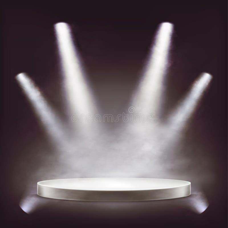 Fase, pódio redondo vazio iluminado por projetores fotografia de stock