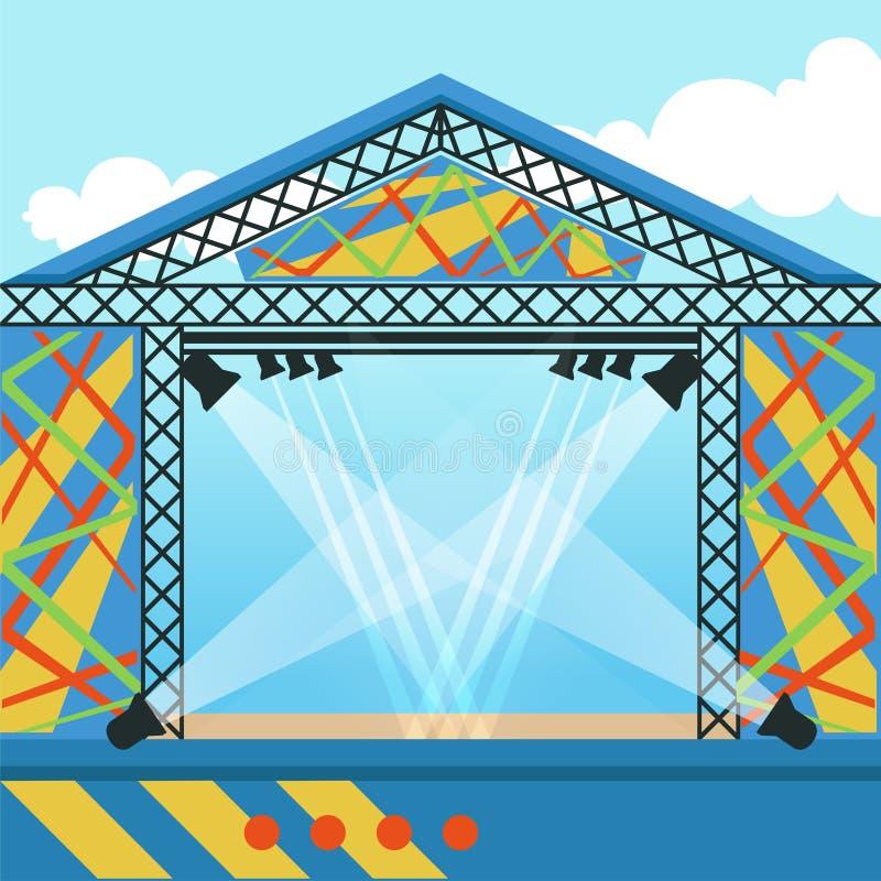 Fase para o festival do ar livre, o evento da música ou o concerto de rocha ilustração royalty free