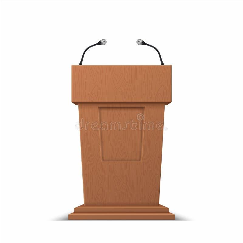 Fase realística do debate tribuna do discurso da conferência 3D, suporte da fase da apresentação do negócio com microfones Vetor ilustração royalty free