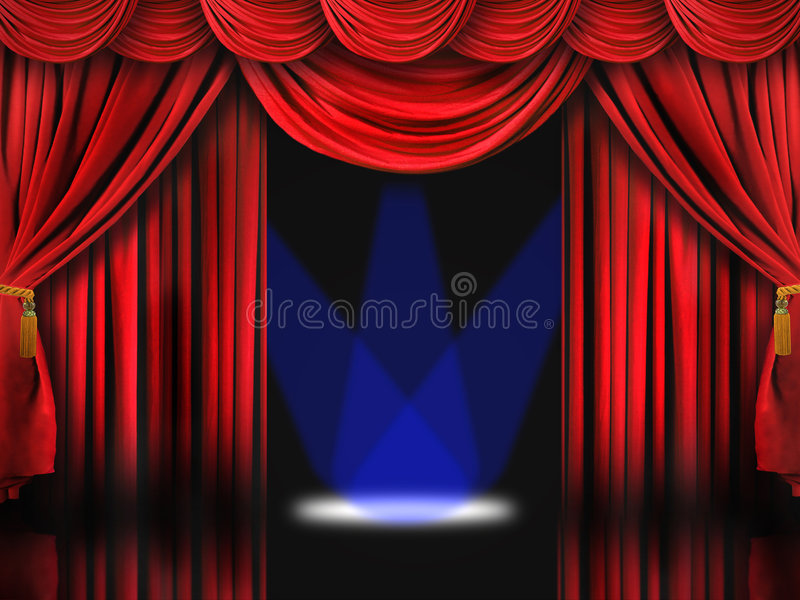 Fase rossa del teatro con gli indicatori luminosi blu del punto illustrazione di stock