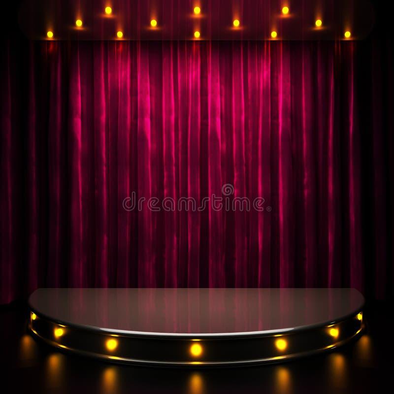 Fase rossa della tenda con le luci royalty illustrazione gratis