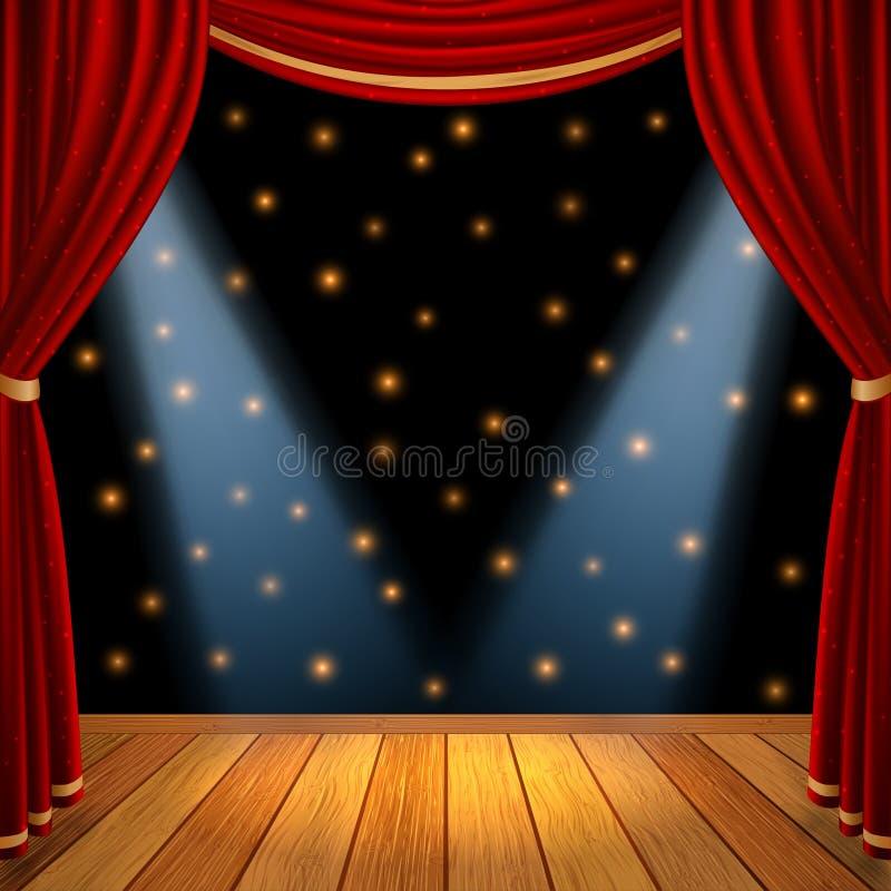 A fase teatral da cena de Mpty com cortinas vermelhas drapeja e assoalho de madeira marrom com projetor dramático no centro ilustração do vetor