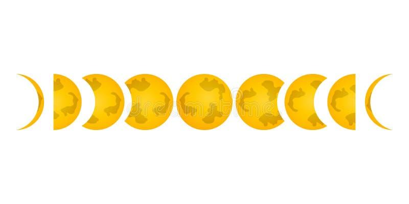 Fase van het maanpictogram Etiket voor Web op witte achtergrond Carto royalty-vrije illustratie