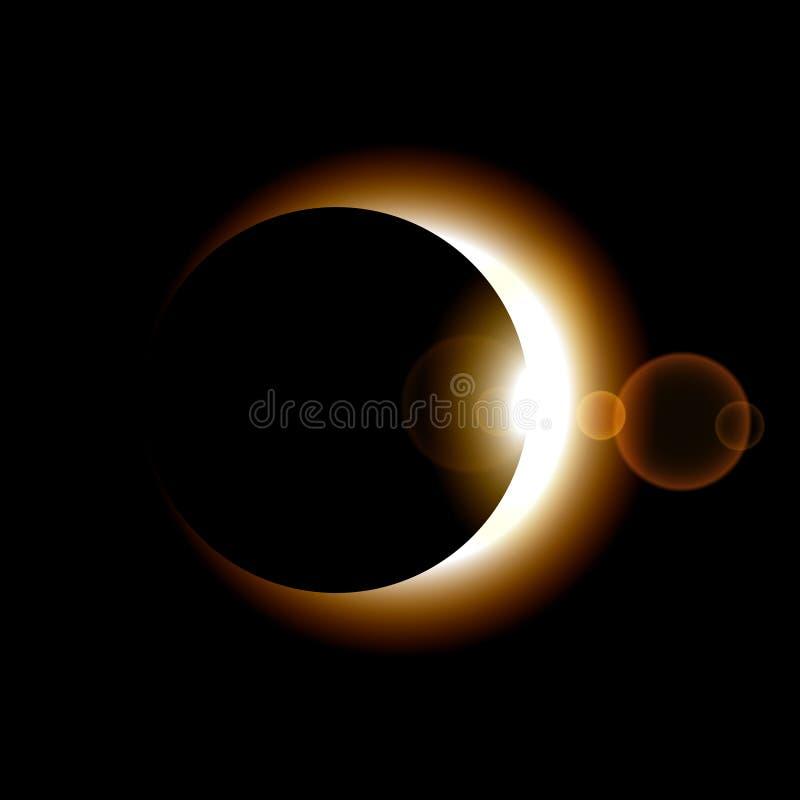 Fase van zonverduistering op donkere achtergrond Vector illustratie royalty-vrije illustratie