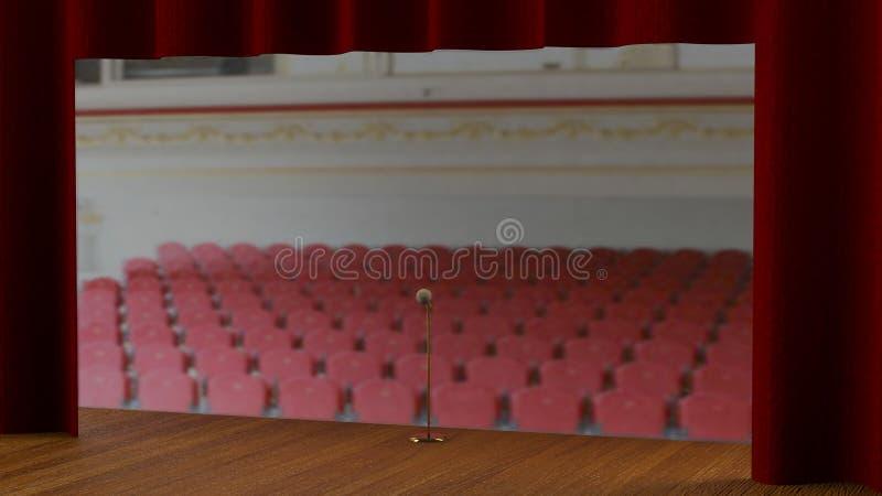 Fase vazia com cortina vermelha (3d rendem) ilustração stock