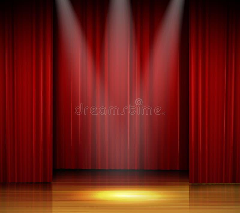 Fase vazia com cortina vermelha e projetor no assoalho de madeira ilustração royalty free