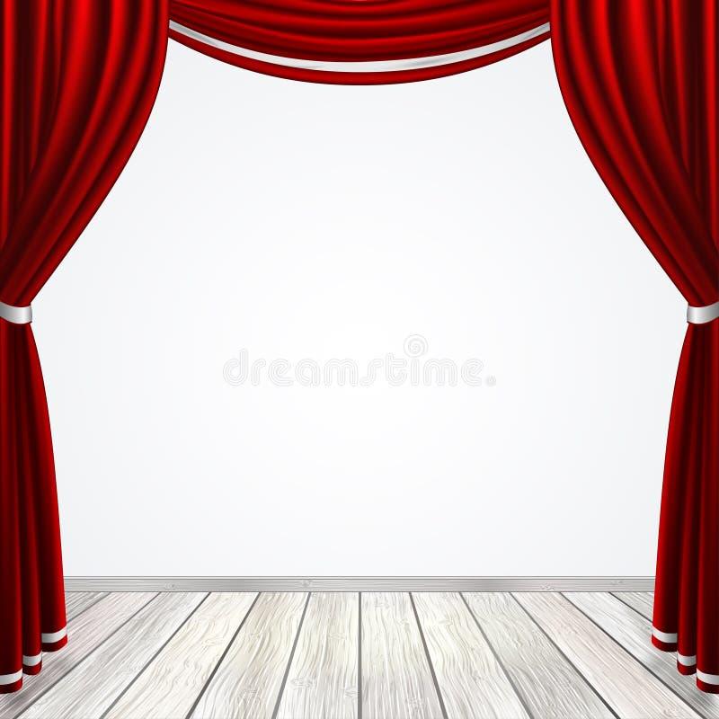 A fase vazia com cortinas vermelhas drapeja ilustração do vetor