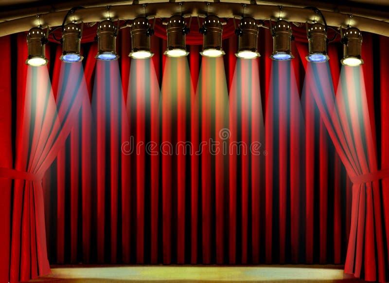 Fase vazia com luzes vermelhas da cortina e do ponto ilustração do vetor