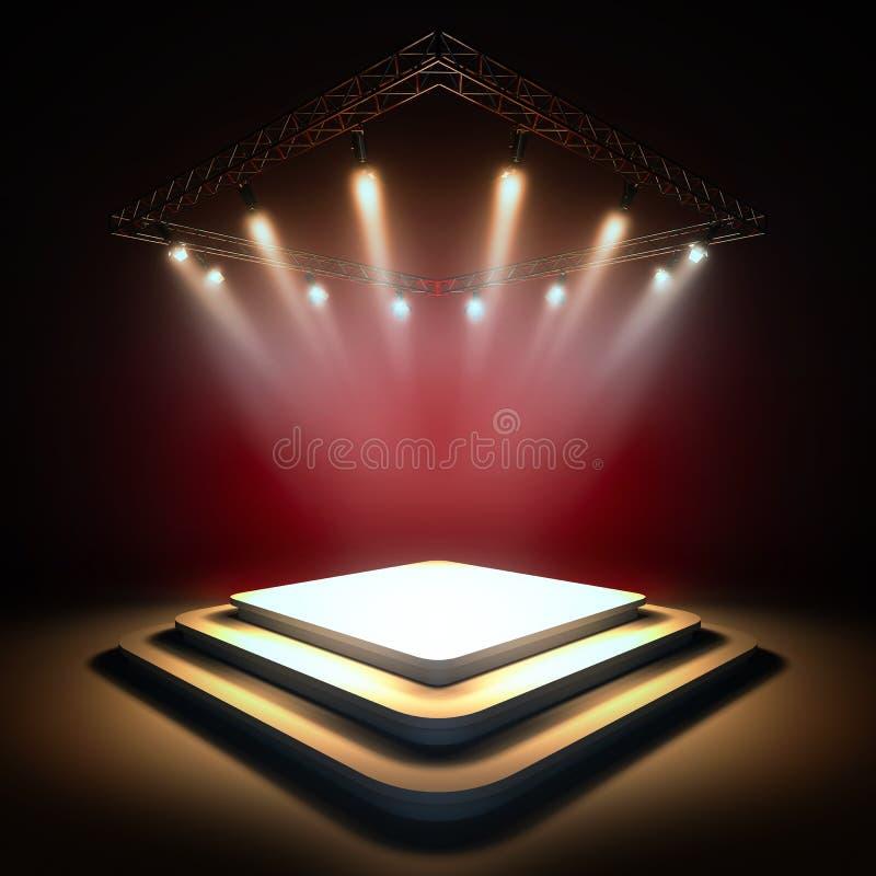 Fase vazia iluminada por projetores ilustração royalty free