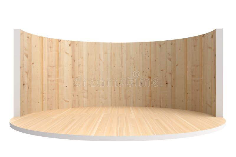 Fase vazia ou sala redonda com assoalho de madeira e a parede de madeira ilustração do vetor