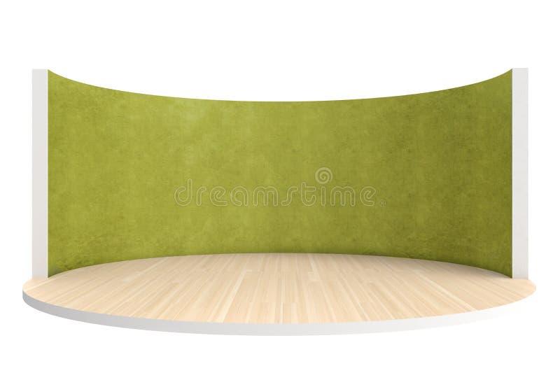 Fase vazia ou sala redonda com assoalho de madeira e a parede verde ilustração stock