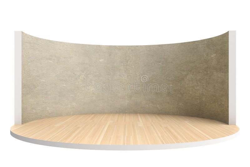 Fase vazia ou sala redonda com assoalho e a parede de madeira ilustração royalty free