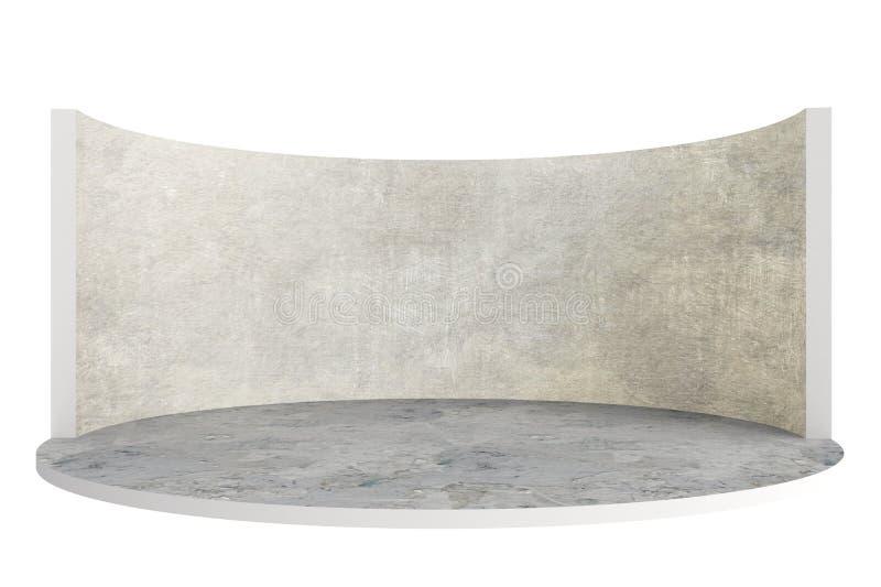 Fase vazia ou sala redonda com assoalho e a parede de pedra ilustração do vetor