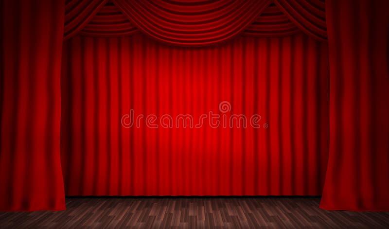 Fase vazia para desempenhos e a cortina vermelha ilustração do vetor