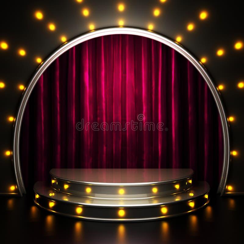 Fase vermelha da cortina com luzes ilustração do vetor