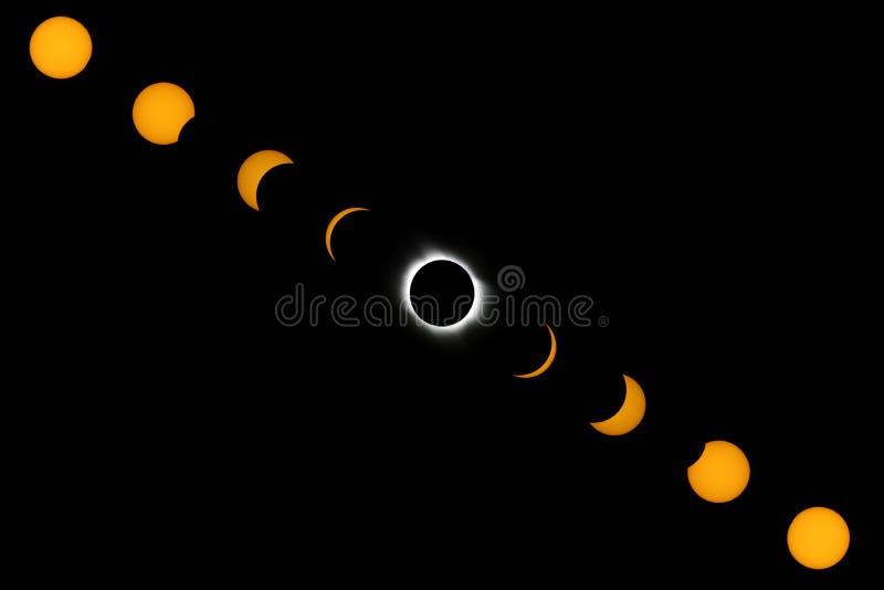 Fasen van volledige zonneverduistering stock fotografie