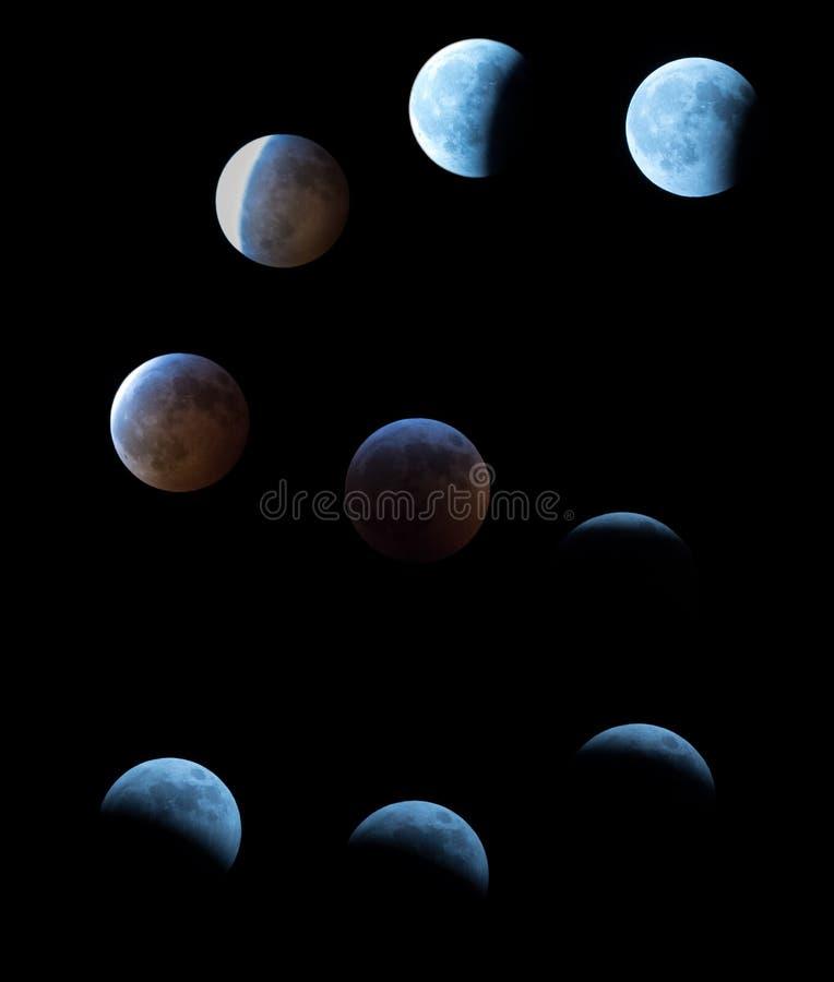 Faser av det toppna blodet Wolf Moon med den sammanlagda månförmörkelsen i mitten fotografering för bildbyråer
