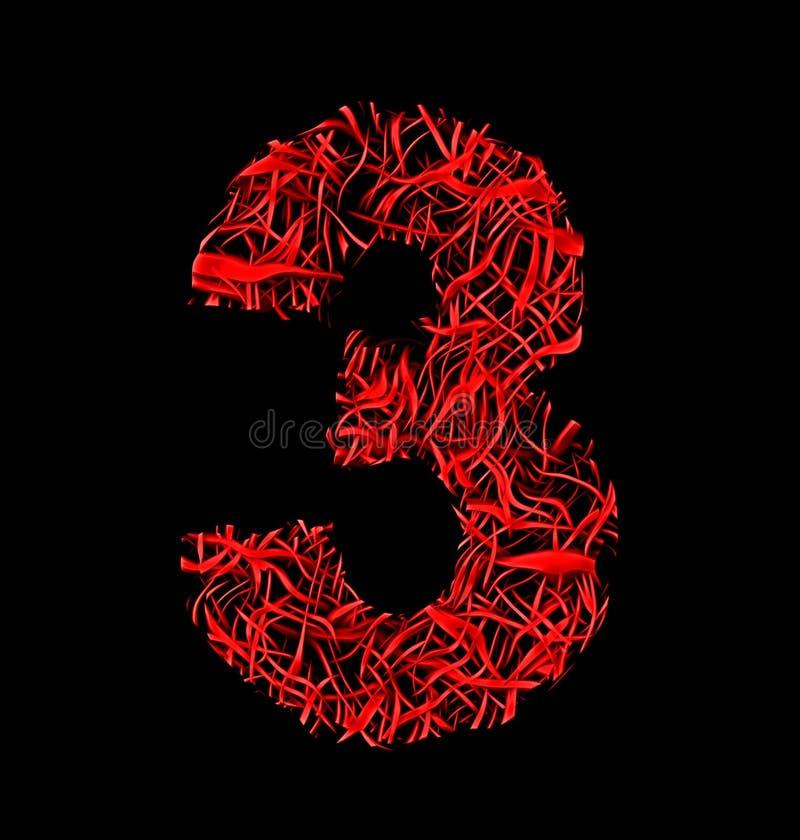 Fasermaschenart der Nr. 3 rote künstlerische lokalisiert auf Schwarzem vektor abbildung