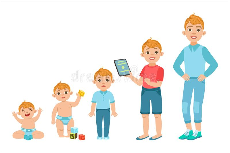 Fases crescentes do menino caucasiano com ilustra??es na idade diferente ilustração stock