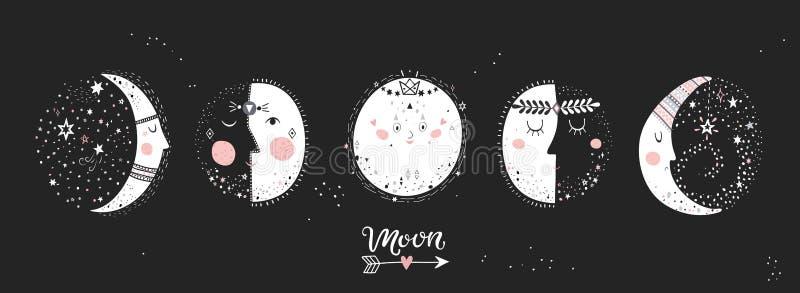 5 fases da lua imagem de stock