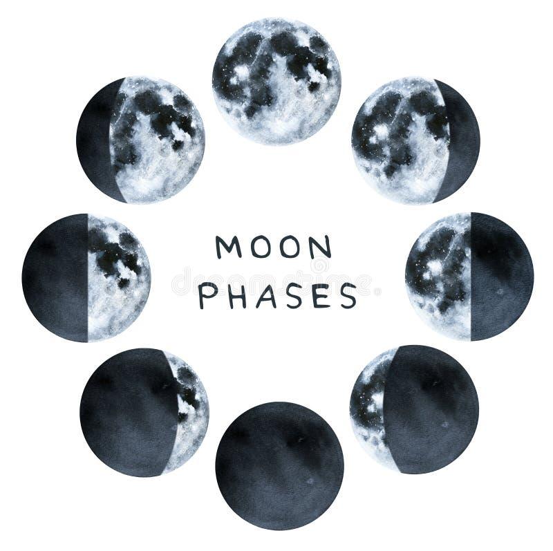 Fases da lua, coleção da cor de água ilustração do vetor