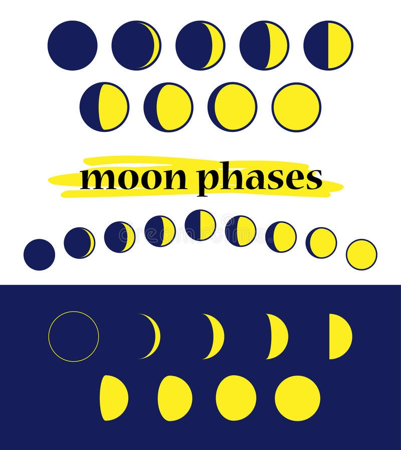 Fases da lua do vetor ilustração do vetor