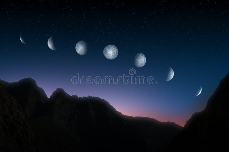 Fases da lua sobre o céu nocturno