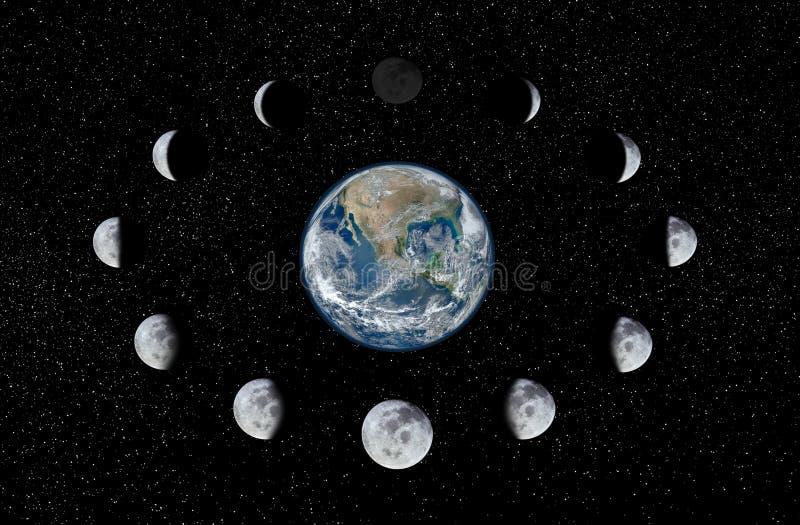 Fases da terra e da lua fotografia de stock