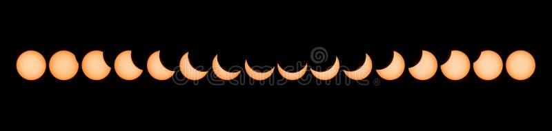 Fases de eclipse solar parcial imagens de stock royalty free