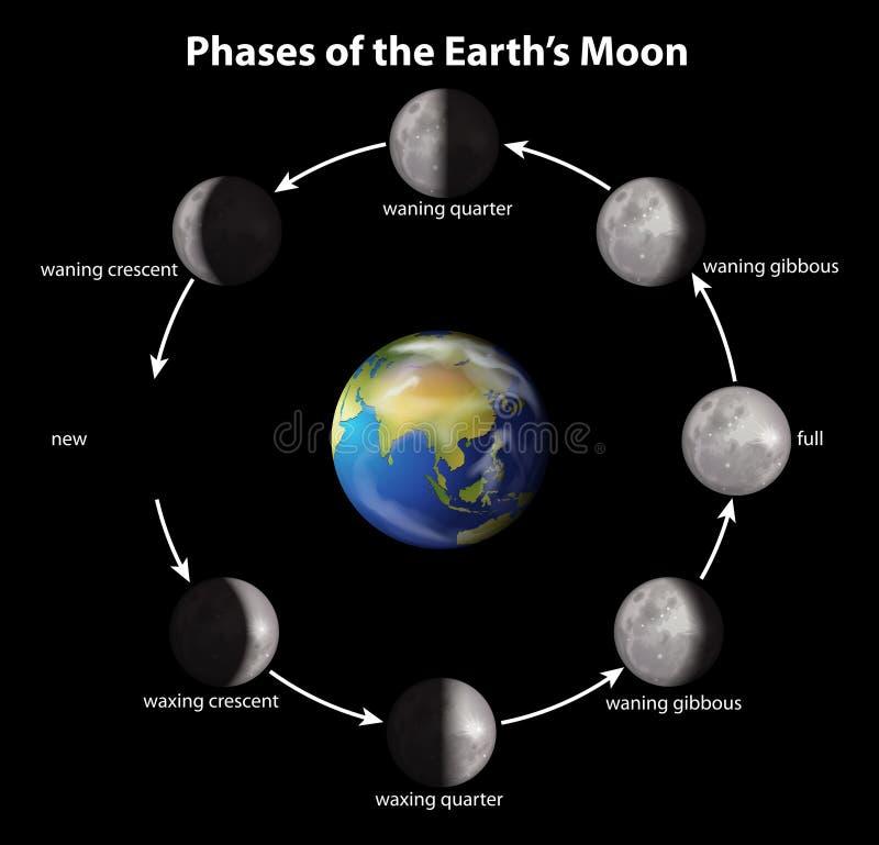 Fases de la luna de la tierra stock de ilustración
