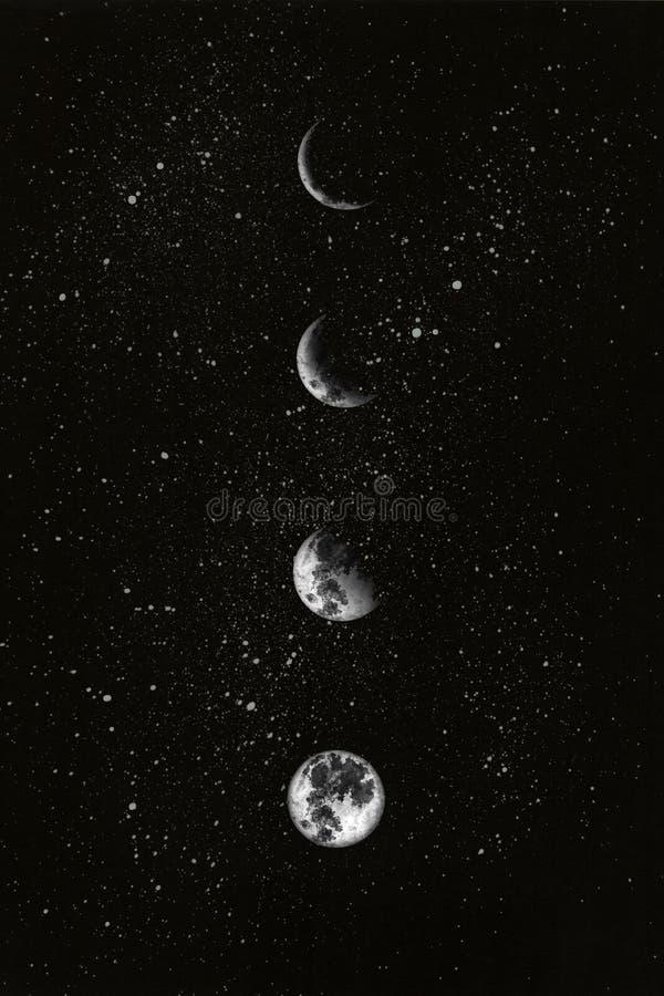 Fases de la luna en el cielo nocturno Ilustraci?n de la acuarela libre illustration