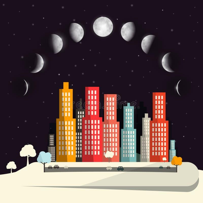 Fases de la luna sobre diseño plano de la ciudad de la noche stock de ilustración