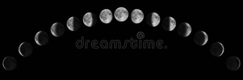 Fases de la luna sobre el cielo nocturno con las estrellas Ciclo lunar de la luna imagenes de archivo