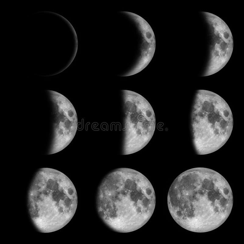 9 fases de nuevo a la Luna Llena, lunar en oscuridad cerca fotos de archivo