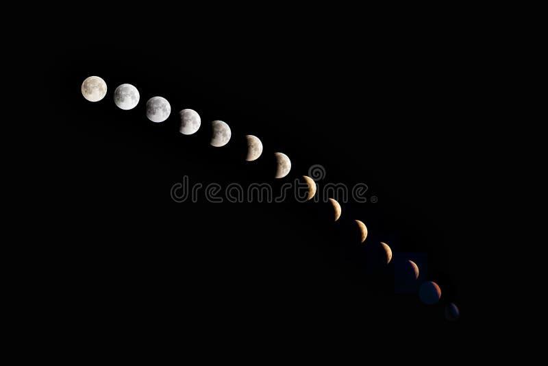 Fases de un eclipse lunar fotografía de archivo libre de regalías