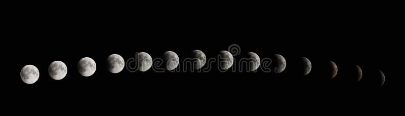 Fases del eclipse de la luna Eclipse lunar total imágenes de archivo libres de regalías