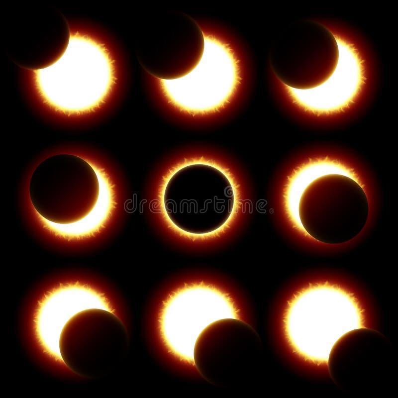 Fases del eclipse solar ilustración del vector