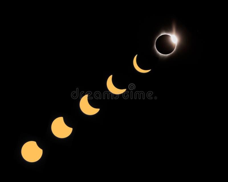 Fases del eclipse total fotografía de archivo libre de regalías