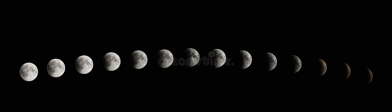 Fases do eclipse da lua Eclipse lunar total imagens de stock royalty free