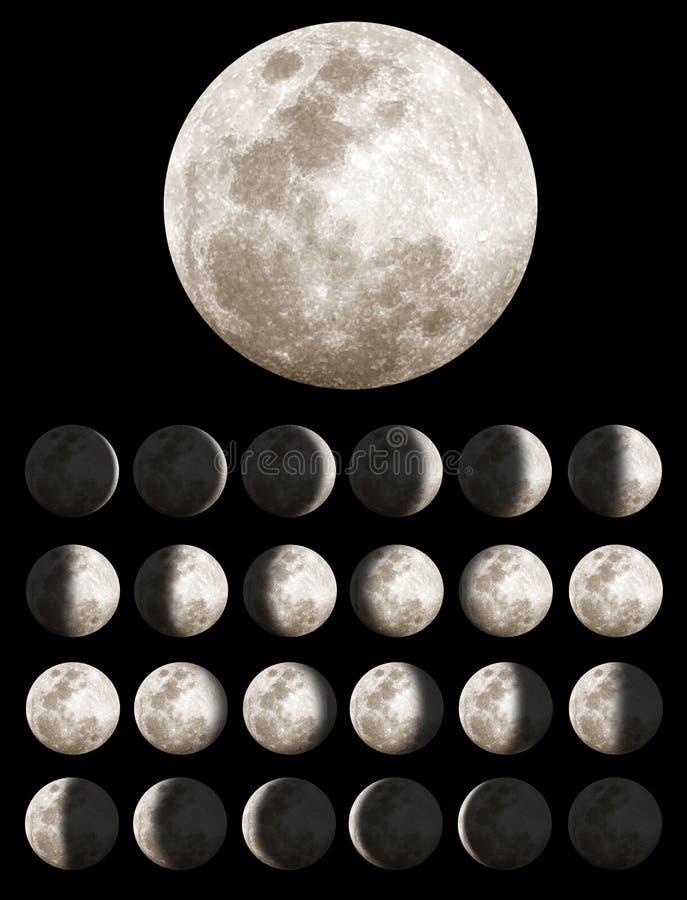 Fases lunares ou da lua ilustração stock