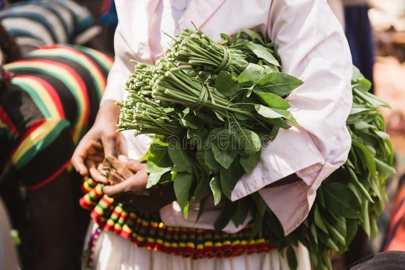 Fasha每周市场,孔索地区,埃塞俄比亚 免版税库存图片