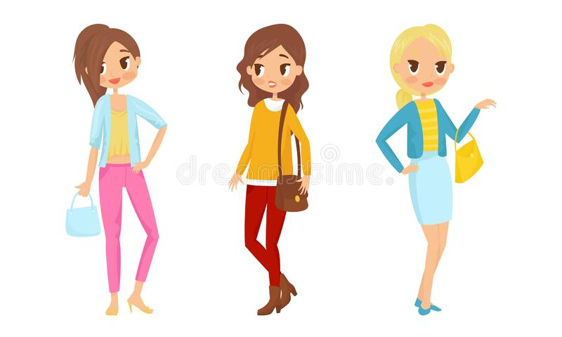 Fashin Girl Characters Standing In Different Poses Vector Illustrations. Females Wearing Trendy Clothes Collection stock illustration