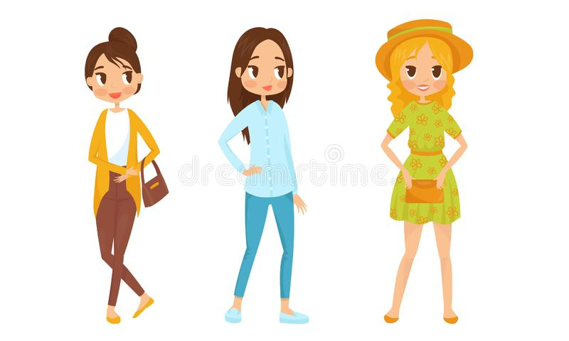 Fashin Girl Characters Standing In Different Poses Vector Illustrations. Females Wearing Trendy Clothes Collection royalty free illustration