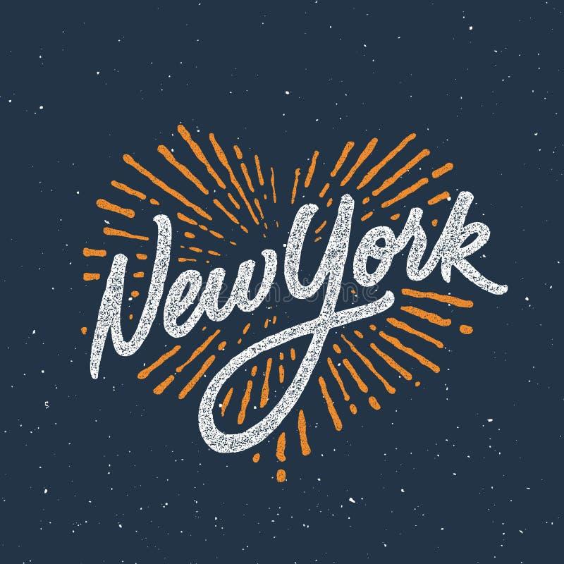Fashio escrito à mão caligráfico do fato do t-shirt de New York do vintage ilustração stock