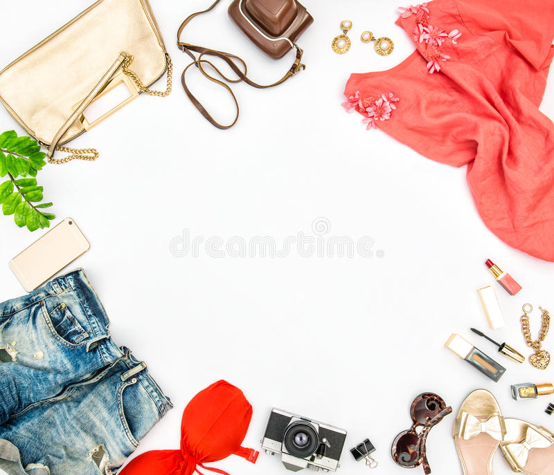 Fashion accessories cosmetics bag shoes Summer holidays stock photos