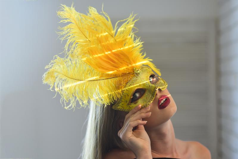 Fashion, accessory, style. Sensual woman wear carnival mask with feather, fashion. Girl with masquerade mask on face, beauty. Beauty, look, makeup. Party royalty free stock photo