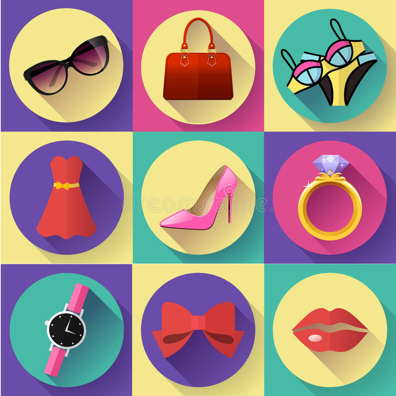 Free Fashion And Clothing Icons Set. Flat 2.0 Vector Design Style With Long Shadow Royalty Free Stock Photography - 72015057