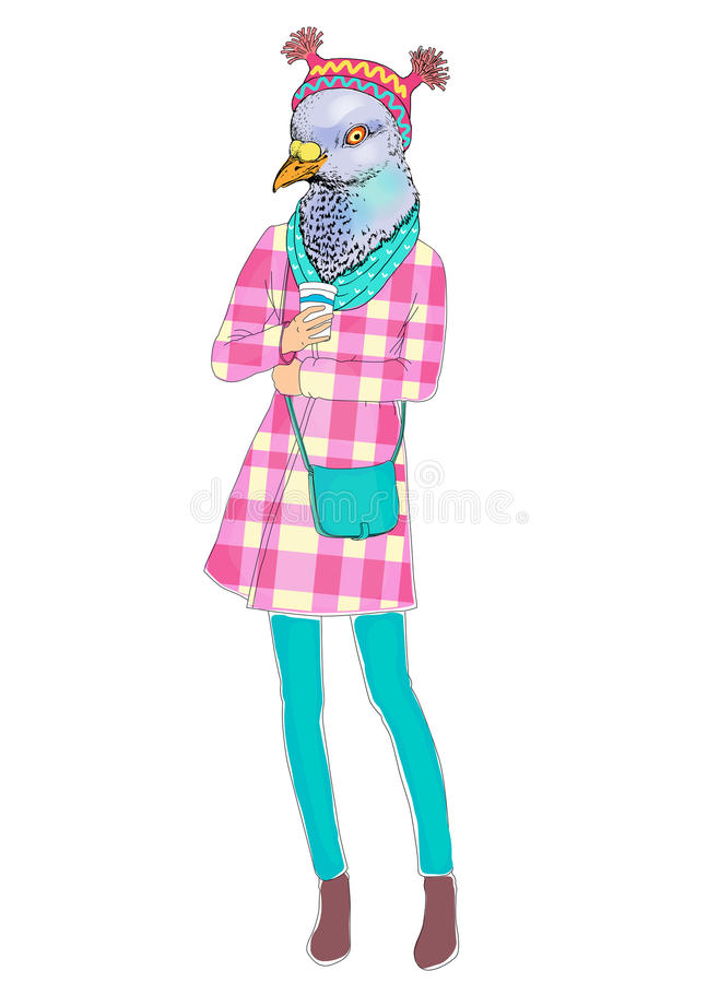 Fashion animal illustration, anthropomorphic design, furry art, hand drawn illustration of bird girl dressed up in scarf. Fashion animal illustration vector illustration