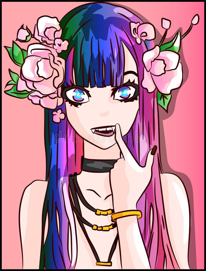 Fashion anime demon, evil girl with vampire teeth and pink roses on her hair illustrator. Fantasy cartoon character with leaves an vector illustration